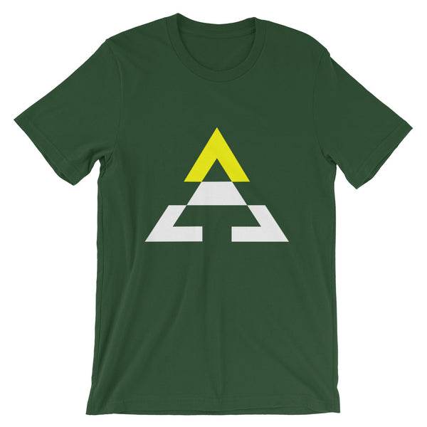 Pyramid White Bottom Yellow Top Unisex T-Shirt Bella Canvas Original Art Abyssinian Kiosk Fashion Cotton Apparel Clothing Triangle
