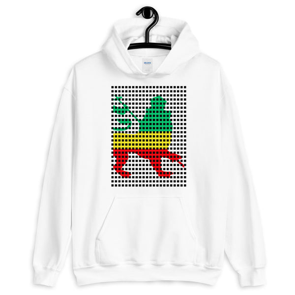 Black Squares GYR Lion Unisex Hoodie Abyssinian Kiosk Green Yellow Red Ethiopia Ethiopian Lion of Judah Fashion Cotton Apparel Clothing Gildan Original Art