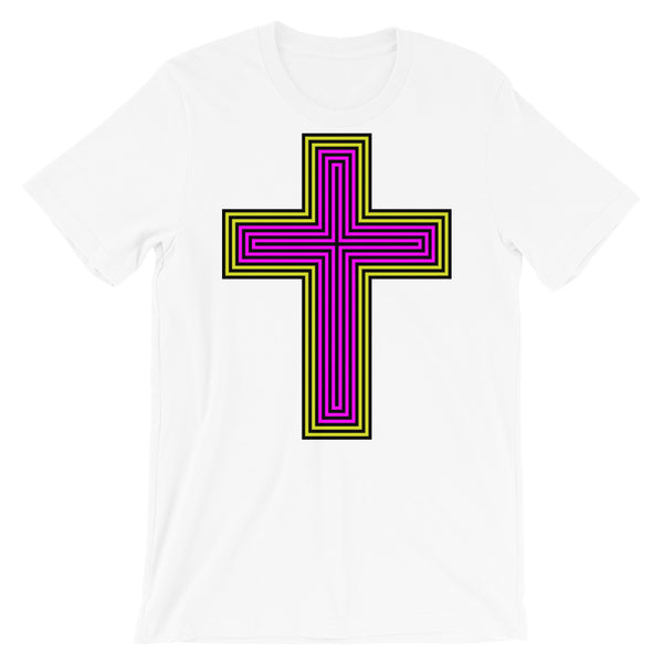Black Yellow Magenta Maze Cross Unisex T-Shirt Abyssinian Kiosk Christian Jesus Religion Lined Latin Cross Bella Canvas Original Art Fashion Cotton Apparel Clothing