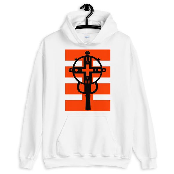 Black Cross Red Stripes Unisex Hoodie Ethiopian Coptic Orthodox Abyssinian Kiosk Christian Apparel Gildan Clothing