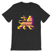 Yellow Magenta Diagonal Lines Unisex T-Shirt Abyssinian Kiosk Ethiopian Lion of Judah Bella Canvas Original Art Abyssinian Kiosk Fashion Cotton Apparel Clothing