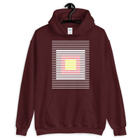 White Stripes Red Yellow Squares Unisex Hoodie Squares Within Lines Abyssinian Kiosk Fashion Cotton Apparel Clothing Gildan Original Art