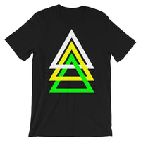 3 Triangles White Yellow Green Unisex T-Shirt Abyssinian Kiosk Fashion Cotton Apparel Clothing Bella Canvas Original Art