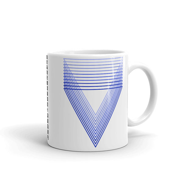 Blue Chiaroscuro Triangles Kaffa Mug