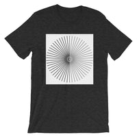Half Blank Half Grey Cube Spokes White BG Unisex T-Shirt Abyssinian Kiosk Squares Bicycle Spokes Background Fashion Cotton Apparel Clothing Bella Canvas Original Art