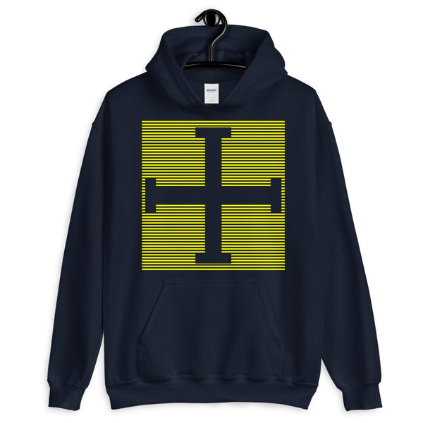 Yellow Lines Empty + Cross Unisex Hoodie Abyssinian Kiosk Equal Arm Cross Christian Lines Gildan Original Art Fashion Cotton Apparel Clothing