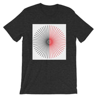 Half Blank Cube Spokes Half Red White BG Unisex T-Shirt Abyssinian Kiosk Squares Bicycle Spokes Background Fashion Cotton Apparel Clothing Bella Canvas Original Art