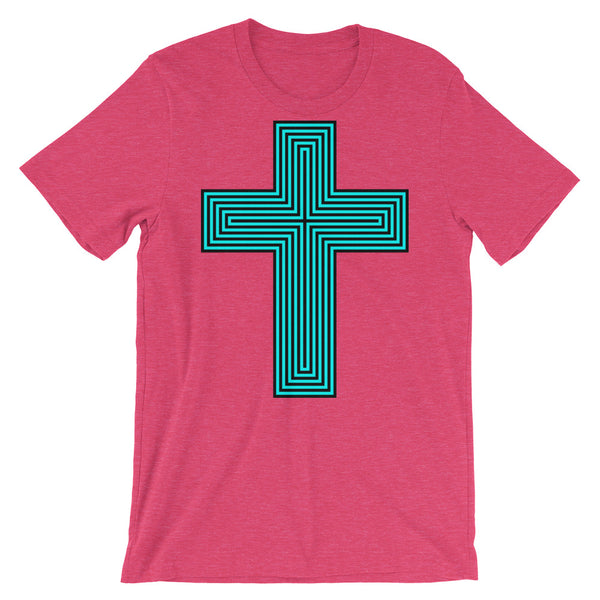 Cyan & Black Maze Cross Unisex T-Shirt Abyssinian Kiosk Christian Jesus Religion Lined Latin Cross Bella Canvas Original Art Fashion Cotton Apparel Clothing
