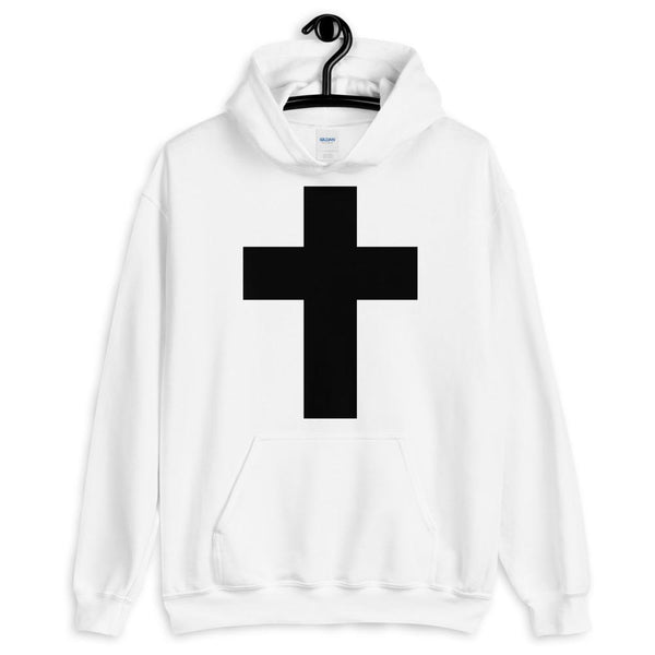 Black Latin Cross Unisex Hoodie Abyssinian Kiosk Christian Jesus Religion Wide Line Latin Cross Gildan Original Art Fashion Cotton Apparel Clothing