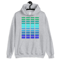 Green to Blue Grid Bars Unisex Hoodie Abyssinian Kiosk Rectangle Bars Spaced Evenly Grid Pattern Fashion Cotton Apparel Clothing Gildan Original Art