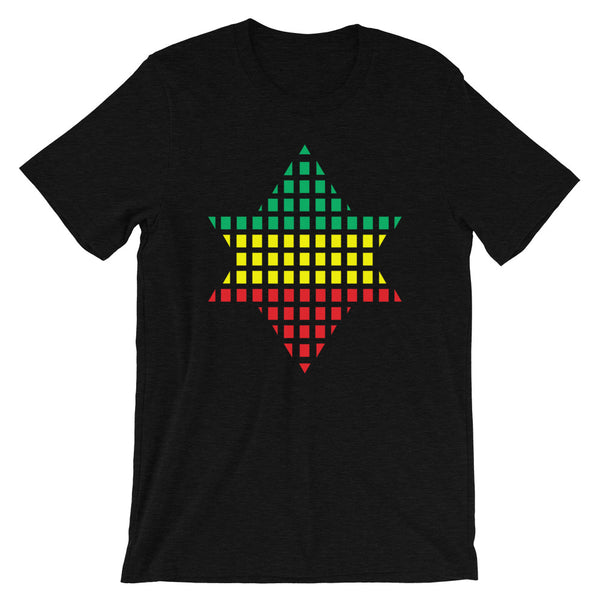 Green Yellow Red Boxes Star of David Unisex T-Shirt Abyssinian Kiosk Rectangles Jewish Falasha Abyssinia Ethiopia Bella Canvas Original Art Fashion Cotton Apparel Clothing