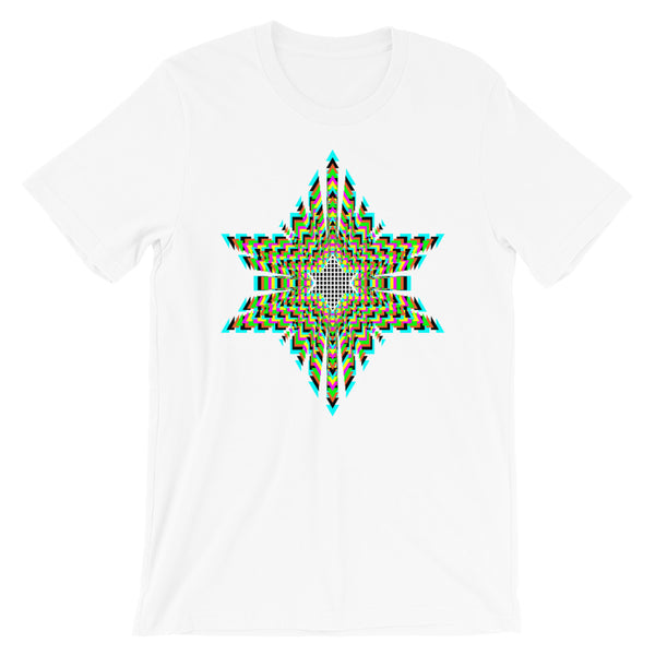 Black Boxes Psychedelic Star of David Unisex T-Shirt Abyssinian Kiosk Rectangles Jewish Falasha Ethiopia Trip Trippy Colorful Bella Canvas Original Art Fashion Cotton Apparel Clothing