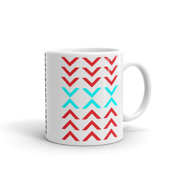 Arrows Down Up Red Cyan Kaffa Mug