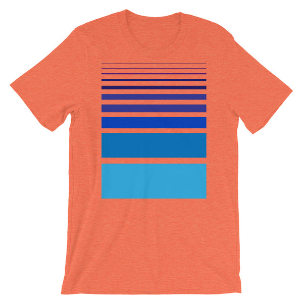 Purple to Blue Unisex T-Shirt Bars and Lines Orange Abyssinian Kiosk Fashion Cotton Apparel Clothing Bella Canvas Original Art