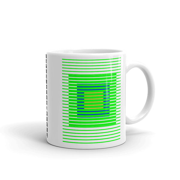 Green Stripes Blue Orange Squares Kaffa Mug