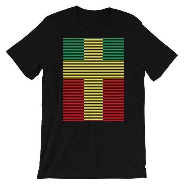 Yellow Cross Green Red Lines Unisex T-Shirt Abyssinian Kiosk Christian Jesus Religion Lined Latin Cross Bella Canvas Original Art Fashion Cotton Apparel Clothing