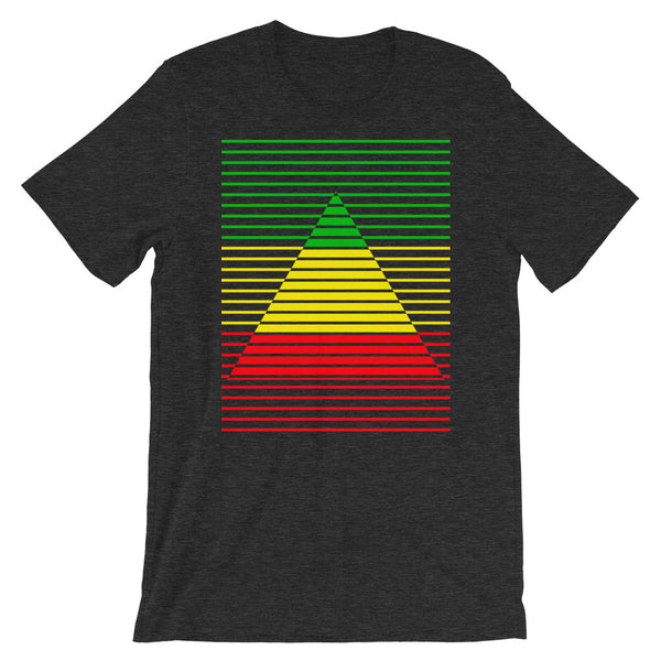 GYR Lined Pyramid Unisex T-Shirt Abyssinian Kiosk Green Yellow Red Ethiopian FlagFashion  Cotton Apparel Clothing Bella Canvas Original Art