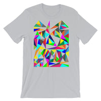 Color Triangles Unisex T-Shirt Abyssinian Kiosk Falling Colorful Triangles Fashion Cotton Apparel Clothing Bella Canvas Original Art