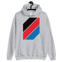 Black Red Blue Stripes Unisex Hoodie Abyssinian Kiosk Diagonal Stripes Fashion Cotton Apparel Clothing Gildan Original Art