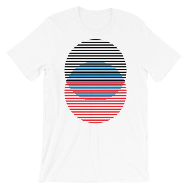 Black Blue Red Lined Circles Unisex T-Shirt Abyssinian Kiosk Joining Circles Fashion Cotton Apparel Clothing Bella Canvas Original Art
