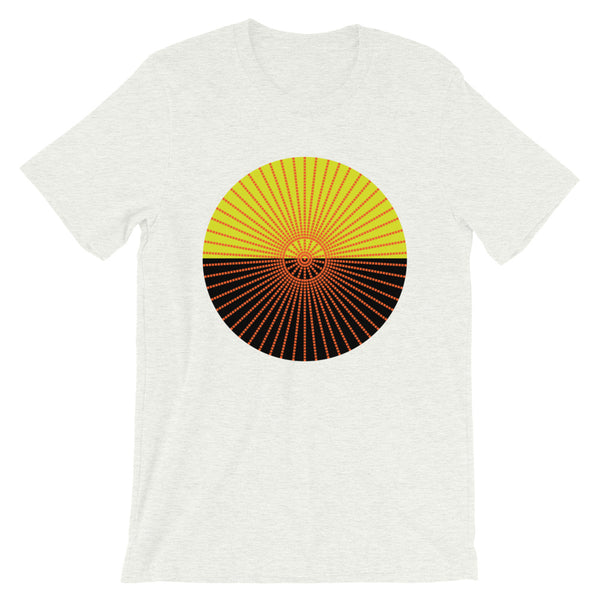 Orange Cube Spokes Mustard Top Black Bottom Unisex T-Shirt Abyssinian Kiosk Squares Bicycle Spokes Dual Color Circle Fashion Cotton Apparel Clothing Bella Canvas Original Art