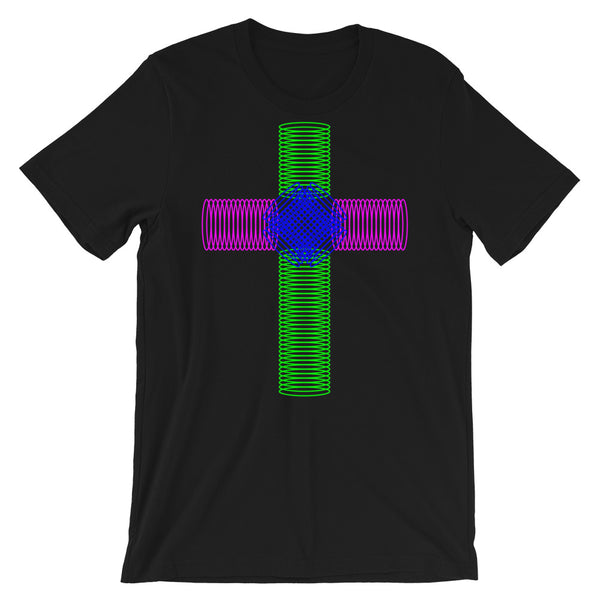 Green Magenta Blue Ellipse Cross Unisex T-Shirt Abyssinian Kiosk Christian Jesus Religion Cross Bella Canvas Original Art Fashion Cotton Apparel Clothing