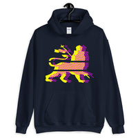 Yellow Magenta Diagonal Lines Unisex Hoodie Abyssinian Kiosk Ethiopian Lion of Judah Gildan Original Art Abyssinian Kiosk Fashion Cotton Apparel Clothing