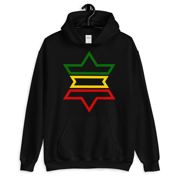 Green, Yellow, Red Outline Star of David Hoodie Abyssinian Kiosk Jewish Falasha Abyssinia Ethiopia Flag Rasta Lion of Judah Apparel Gildan Clothing