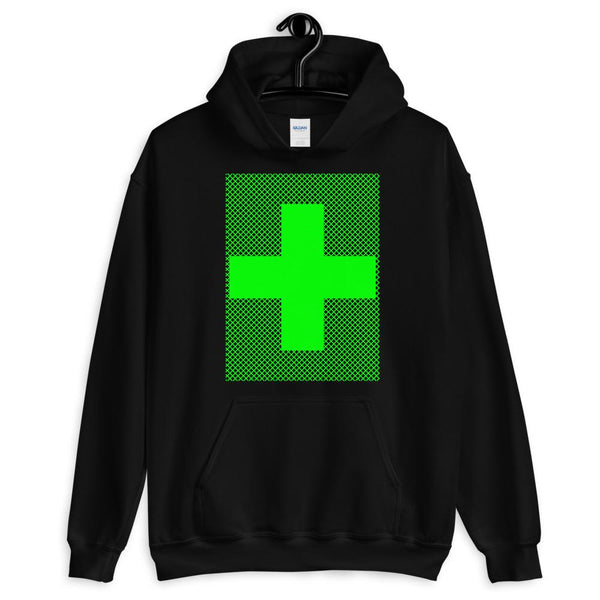 Green Criss Green Cross Unisex Hoodie Abyssinian Kiosk Equal Arm Cross Christian Criss Cross Lines Gildan Original Art Fashion Cotton Apparel Clothing