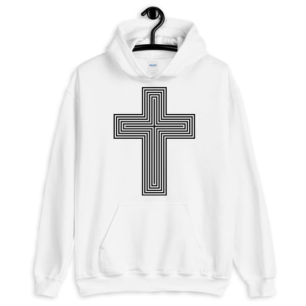 Black Empty Maze Cross Unisex Hoodie Abyssinian Kiosk Christian Jesus Religion Lined Latin Cross Gildan Original Art Fashion Cotton Apparel Clothing