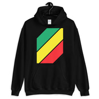 Green Yellow Red Stripes Unisex Hoodie Abyssinian Kiosk Diagonal Stripes Fashion Cotton Apparel Clothing Gildan Original Art