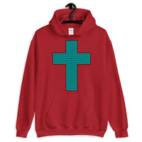 Cyan & Black Maze Cross Unisex Hoodie Abyssinian Kiosk Christian Jesus Religion Lined Latin Cross Gildan Original Art Fashion Cotton Apparel Clothing