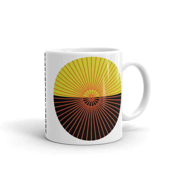 Orange Cube Spokes Mustard Top Black Kaffa  Mug