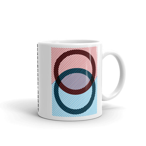 Black Rings Red Blue Lines Kaffa Mug