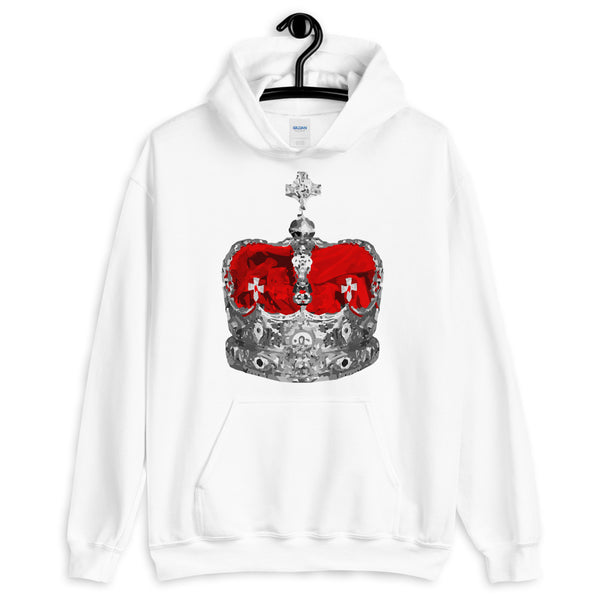 Greyscale & Red Crown Unisex Hoodie Abyssinian Kiosk Empress Menen Crown Haile Selassie Red Velvet African Royal Royalty Fashion Cotton Apparel Clothing Gildan Original Art