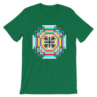 Psychedelic #12 Cross White Unisex T-Shirt Abyssinian Kiosk Equal-Armed Cross Ethiopian Jesus Christian Trip Trippy Colorful Bella Canvas Original Art Fashion Cotton Apparel Clothing