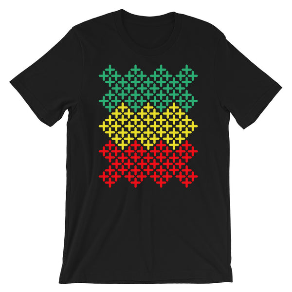 Green Yellow Red Solid Cross Pattern Unisex T-Shirt Abyssinian Kiosk Equal-Armed Cross Ethiopian Coptic Orthodox Christian Bella Canvas Original Art Fashion Cotton Apparel Clothing