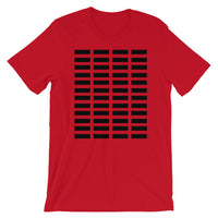 Black Grid Bars Unisex T-Shirt Abyssinian Kiosk Rectangle Bars Spaced Evenly Grid Pattern Fashion Cotton Apparel Clothing Bella Canvas Original Art