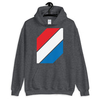 Red White Blue Stripes Unisex Hoodie Abyssinian Kiosk Diagonal Stripes Fashion Cotton Apparel Clothing Gildan Original Art