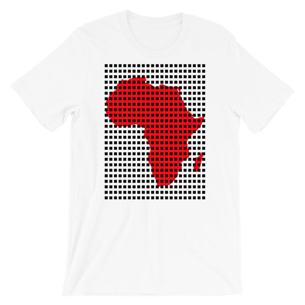 Black Squares Red Africa Unisex T-Shirt Map African Abyssinian Kiosk Fashion Cotton Apparel Clothing Bella Canvas Original Art