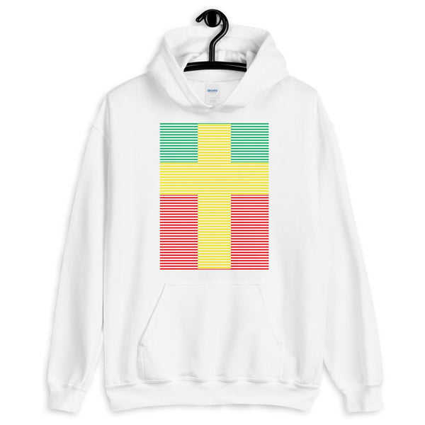 Yellow Cross Green Red Lines Unisex Hoodie Abyssinian Kiosk Christian Jesus Religion Lined Latin Cross Gildan Original Art Fashion Cotton Apparel Clothing