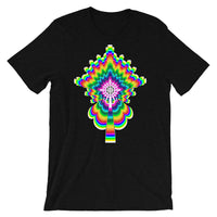 Psychedelic #2 Cross White Unisex T-Shirt Trip Trippy Colorful Ethiopian Coptic Orthodox Abyssinian Kiosk Christian Bella Canvas Original Art Fashion Cotton Apparel Clothing