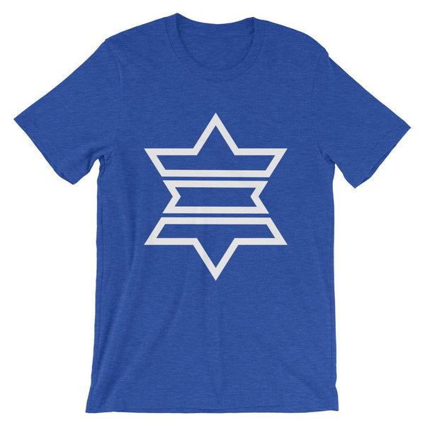 White Outline Star of David Unisex T-Shirt Abyssinian Kiosk White Outline Separated Into 3 Parts Star Jewish Falasha Ethiopia Bella Canvas Original Art Fashion Cotton Apparel Clothing