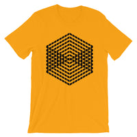 Black Cube Illusion Unisex T-Shirt Abyssinian Kiosk 3D Bars Polygon Fashion Cotton Apparel Clothing Bella Canvas Original Art