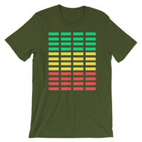 Green Yellow Red Grid Bars Unisex T-Shirt Abyssinian Kiosk Rectangle Bars Spaced Evenly Grid Pattern Fashion Cotton Apparel Clothing Bella Canvas Original Art