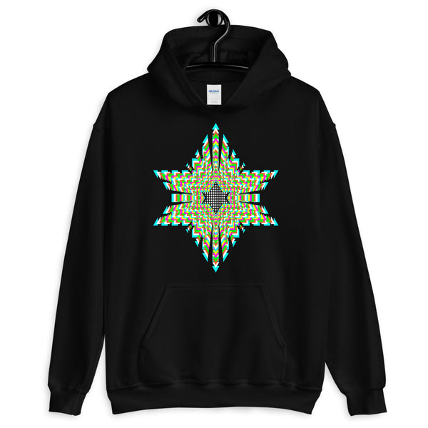 White Boxes Psychedelic Star of David Unisex Hoodie Trip Trippy Colorful Abyssinian Kiosk Rectangles Ethiopia Jewish Falasha Gildan Original Art Fashion Cotton Apparel Clothing