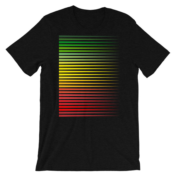 Green to Yellow to Red Streaks Unisex T-Shirt Abyssinian Kiosk Fashion Cotton Apparel Clothing Bella Canvas Original Art Green Yellow Red Ethiopia Ethiopian Flag