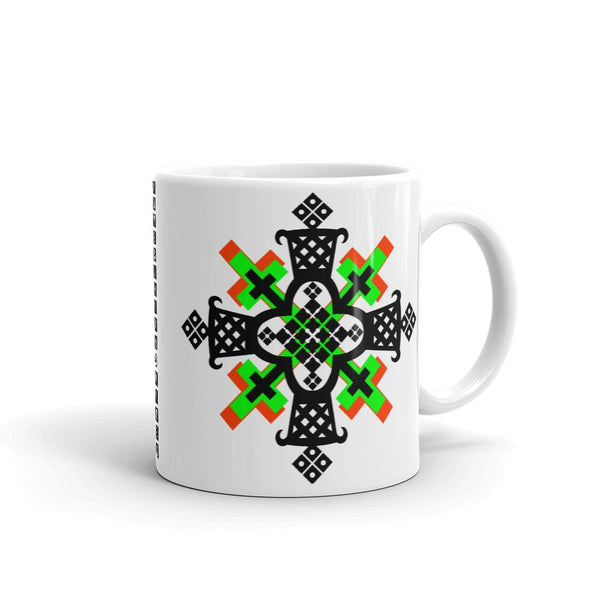 Black, Lime and Red Cross Coffee Mug Ethiopian Coptic Orthodox Abyssinian Kiosk Christian