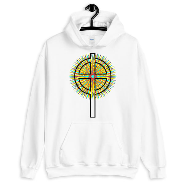 Star Cross Black Unisex Hoodie Abyssinian Kiosk Hollow Circle Top Cross Ethiopian Coptic Orthodox Tewahedo Christian Gildan Original Art Fashion Cotton Apparel Clothing