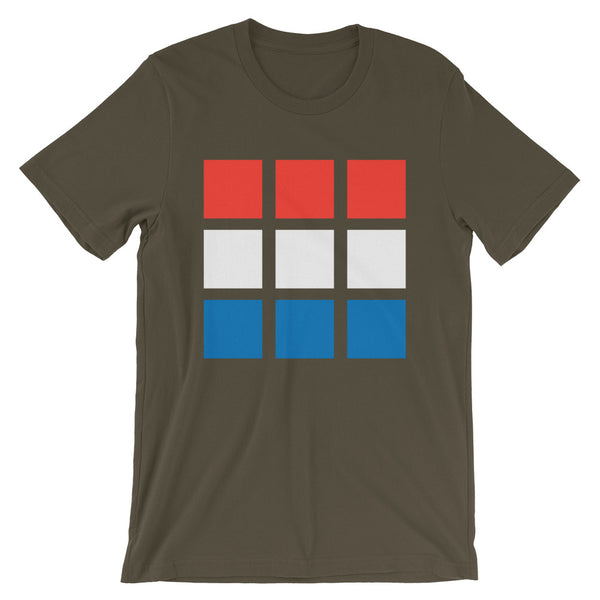RWB Blocks Unisex T-Shirt Bella Canvas Original Art Abyssinian Kiosk Fashion Cotton Apparel Clothing Red White Blue America American Flag